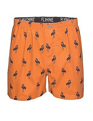 Flying Machine Flamingo Print Cotton Boxer Shorts
