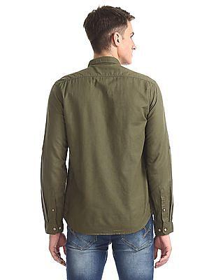 Cherokee Green Roll Up Sleeve Cotton Linen Shirt