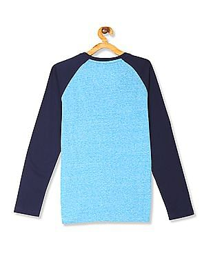 U.S. Polo Assn. Kids Blue Boys Raglan Sleeve Printed T-Shirt