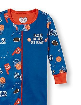 The Children's Place Baby And Toddler Boy Long Sleeve 'Dad Is My 1 Fan' Sports Split Print Stretchie