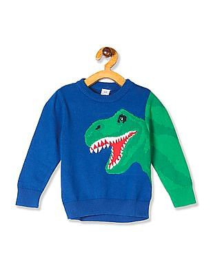 GAP Blue Toddler Boy Dinosaur Graphic Crew Neck Sweater