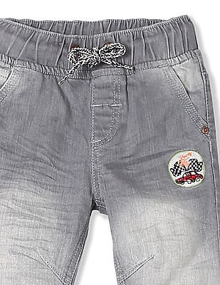 Donuts Boys Drawstring Waist Applique Patch Jeans