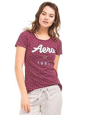 Aeropostale Polka Print Cotton T-Shirt