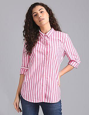 00c57f8f Buy Women Spread Collar Poplin Striped Shirt online at NNNOW.com