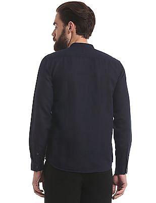True Blue Mandarin Collar Slim Fit Shirt