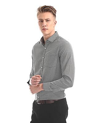 Excalibur Mitered Cuff Patterned Shirt