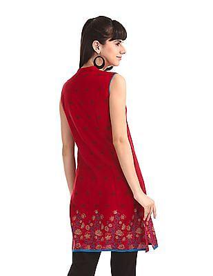 Karigari Red Mandarin Collar Printed Kurta