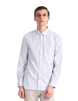 Excalibur White Mitered Cuff Patterned Shirt