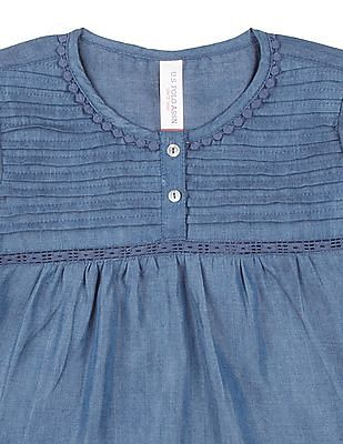 U.S. Polo Assn. Kids Girls Lace Trim Tucked Yoke Top