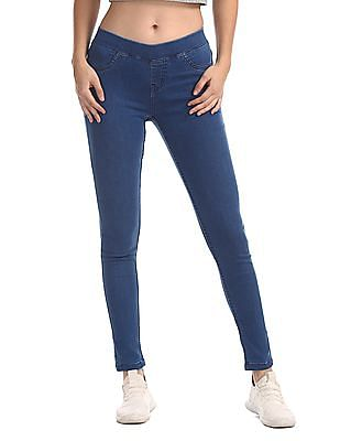 Cherokee Blue Mid Rise Washed Jeggings