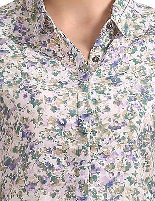 U.S. Polo Assn. Women Floral Printed Short Sleeve Shirt