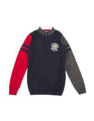 U.S. Polo Assn. Kids Boys Colour Block Popover Sweater