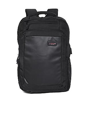 U.S. Polo Assn. Black Textured Laptop Backpack