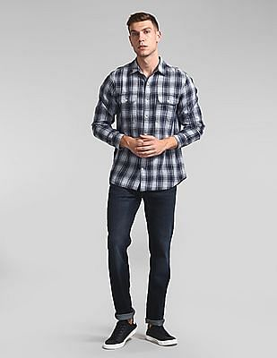 GAP Plaid Work Shirt In Slub Cotton