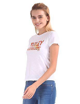 Flying Machine Women Printed Crew Neck T-Shirt