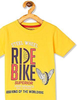 Cherokee Yellow Boys Printed Cotton T-Shirt