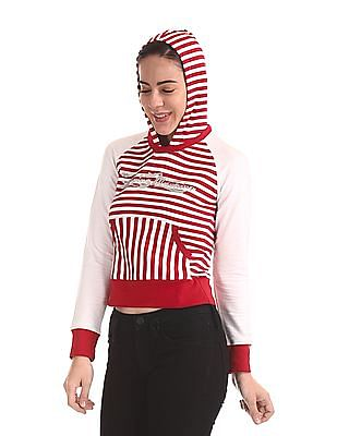 Flying Machine Women Contrast Stripe Hooded Sweatshirt