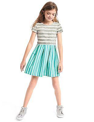 GAP Girls Print Short Sleeve Pleat Dress