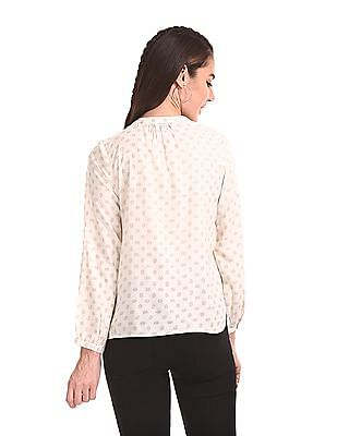 Bronz Mandarin Neck Printed Top