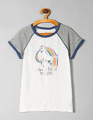 GAP White Girls Pride Graphic Short Sleeve T-Shirt