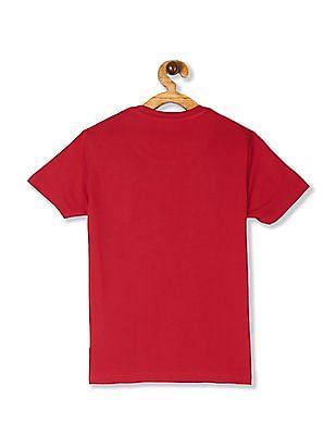 U.S. Polo Assn. Kids Red Boys Crew Neck Flippy Sequin T-Shirt