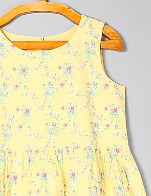 GAP Girls Floral Print Fit And Flare Dress