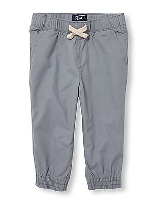 The Children's Place Toddler Boy Grey Solid Woven Jogger Pants