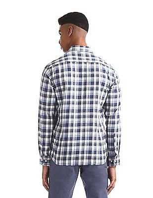Arrow Sports Blue And White Regular Fit Check Shirt
