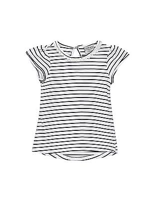 Cherokee Girls Lace Trim Striped Top