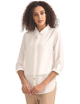 Elle Concealed Placket Sheer Shirt