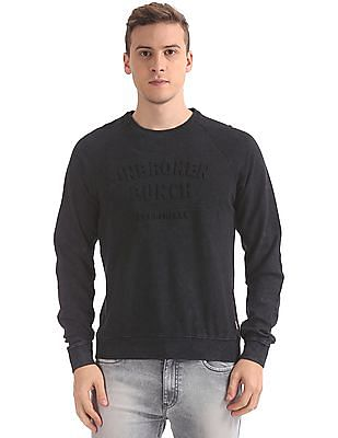 Flying Machine Slim Fit Embossed Front Sweatshirt