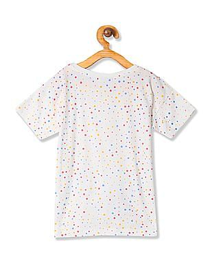 Cherokee Girls Dot Print Tie Waist Top