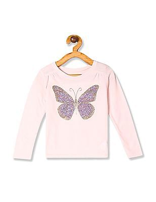 The Children's Place Baby And Toddler Girl Pink Long Sleeve Embellished Graphic Top
