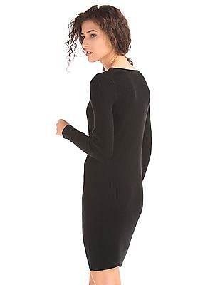 GAP Women Black Ribbed Long Sleeve Dress
