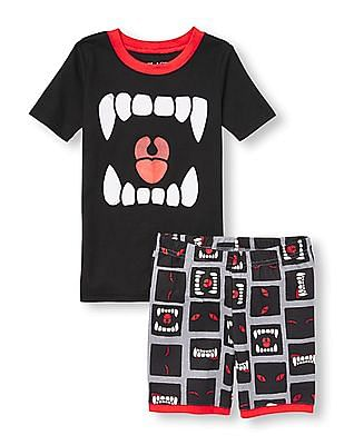 The Children's Place Boys Short Sleeve Glow In The Dark Monster Mouth Top And Printed Shorts Pj Set