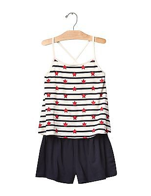 GAP Girls Multi Colour Starry Stripes Two-Piece Romper