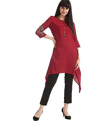 Bronz Red Embroidered Sleeve Dipped Hem Tunic