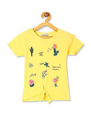 Cherokee Girls Short Sleeve Embroidered Top