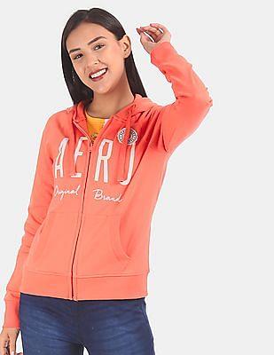 Aeropostale Women Orange Hooded Zip Up Sweatshirt