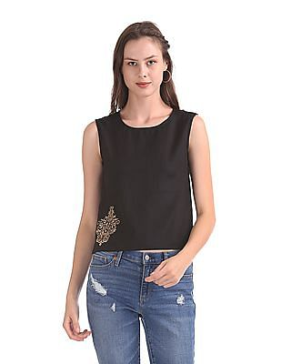 Bronz Embroidered Sleeveless Top