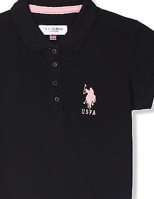 U.S. Polo Assn. Kids Black Girls Solid Pique Polo Shirt