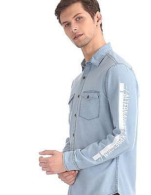 Colt Blue Barrel Cuff Cotton Shirt