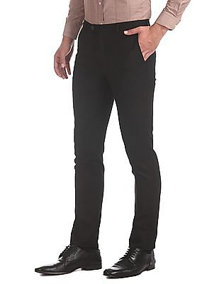 Arrow Newyork Black Super Slim Fit Textured Trousers