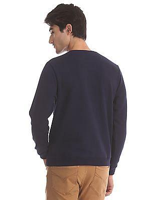Flying Machine Blue Crew Neck Printed Sweatshirt