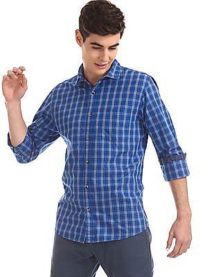 Ruggers Blue Round Cuff Check Shirt