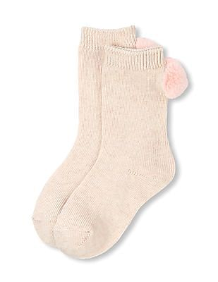 The Children's Place Girls Faux Fur Pom Pom Crew Socks