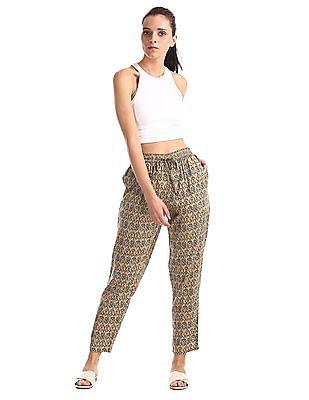 Cherokee Green Mid Rise Printed Pants