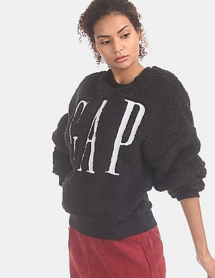 GAP Women Black All-Over Sherpa Logo Pullover