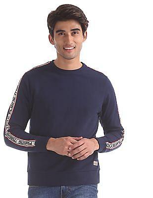 Flying Machine Blue Crew Neck Brand Taping Sweatshirt