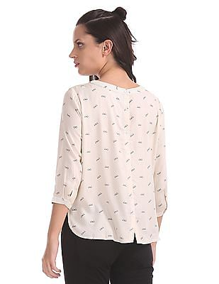 Cherokee Rear Placket Printed Top